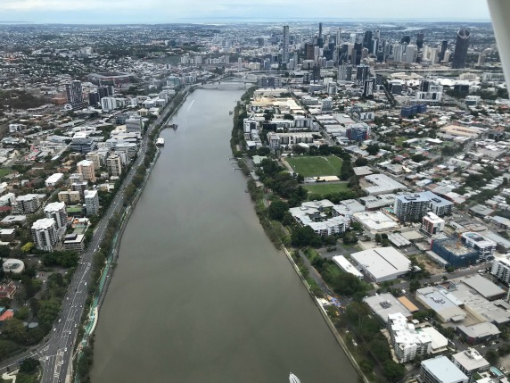 Brisbane River & Skyline - Fly Now Redcliffe